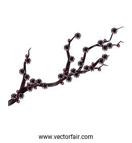 Isolated branch with flowers design