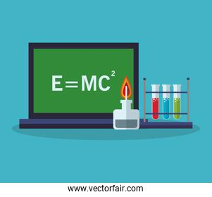 Colorful laptop and laboratory design