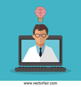 Colorful laptop and scientific illustration