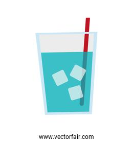 water glass with ice cubes