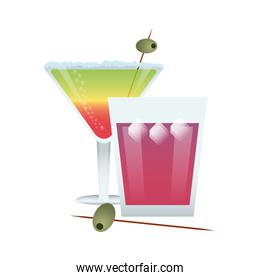 green, red, and pink cocktail illustration