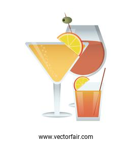 yellow cocktail  illustration over white