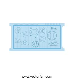 board with geometric figure over white