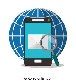 smartphone and magnifying glass