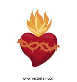 sacred heart with flames