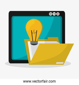 tablet file folder and lightbulb idea related icons image