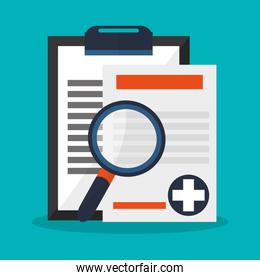 medical related icons and magnifying glass
