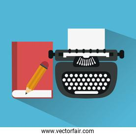typewriter with book and pencil icons image