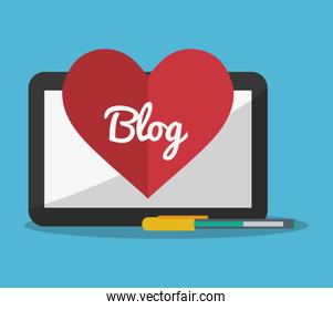 blog heart tablet and pen icons image