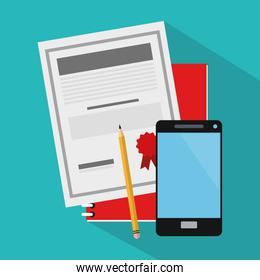 document and smartphone