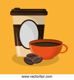 background glass disposable for hot drinks with cup of coffee and beans