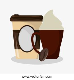 cup of capuccino with cream and glass disponsable for hot drinks and grain of coffee