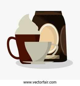 cup of capuccino with cream and bag of coffee with porcelain cup