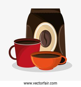 set porcelain mugs and packaking of coffee