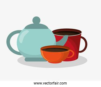 porcelain tea kettle with set mug and cup of coffee
