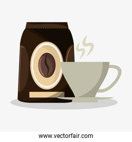 packaking of coffee and porcelain cup with steam