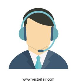 faceless person wearing headset