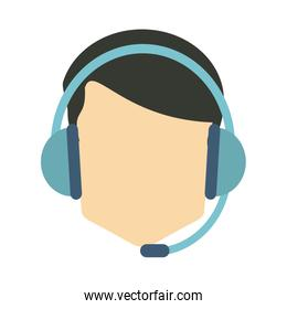 faceless person wearing headset icon image