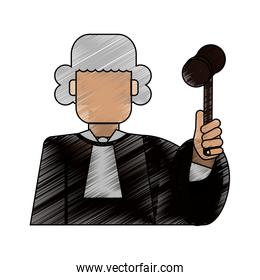 color blurred stripe of faceless man judge with a hammer