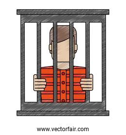 color blurred stripe of faceless man in jail behind bars