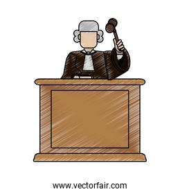 color blurred stripe of faceless judge in law courts with hammer