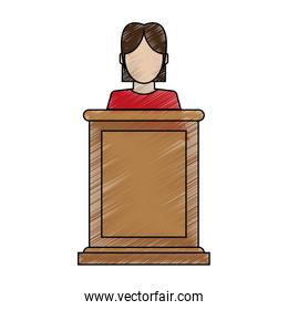 color blurred stripe of faceless person in law courts with microphone