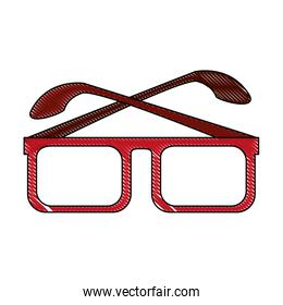 color blurred stripe of glasses with red contour