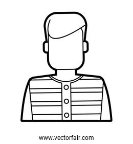 faceless man with striped shirt icon image