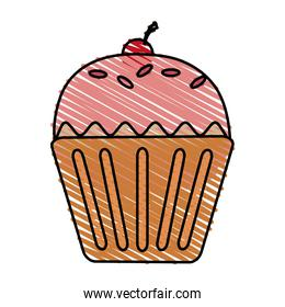 color drawing pencil cartoon cupcake with cherry