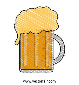 color drawing pencil cartoon beer jar glass with foam
