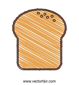 color drawing pencil cartoon slice of bread