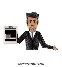 color crayon stripe cartoon half body executive man with document in a hand