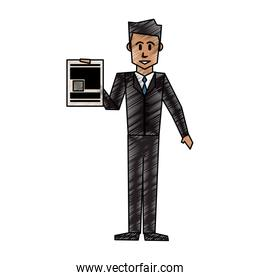 color crayon stripe cartoon full body executive man with document in a hand