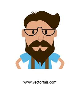 hipster man character icon image
