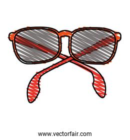 color crayon stripe sunglasses with red contour