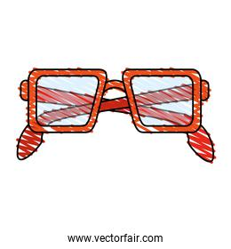 color crayon stripe glasses with red contour