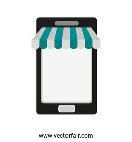 cellphone with store sunshade ecommerce or online shopping icon