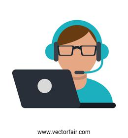 person with headset ecommerce or customer service icon image