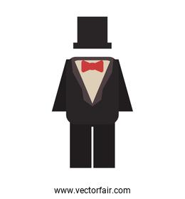 suit with bowtie and hat icon image