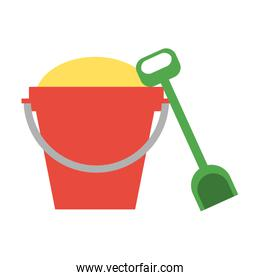 toy bucket with sand and shovel icon image