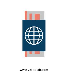 passport with boarding tickets icon image