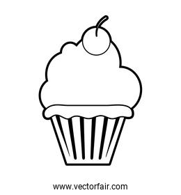 sketch silhouette image cupcake with cherry and cream