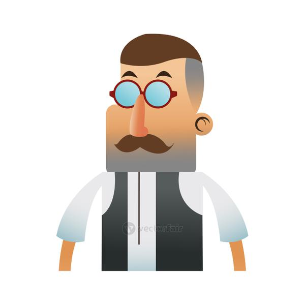 man with hipster style character  icon image