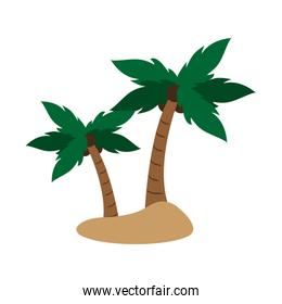 isolated island with palm trees icon image