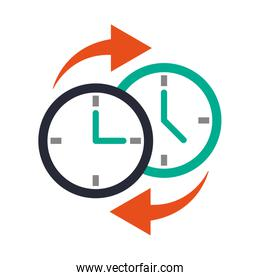 two clocks time zone change icon image