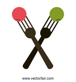crossed forks with food icon image