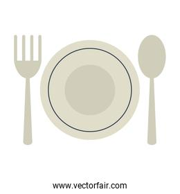 plate with fork and spoon icon image