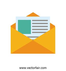 message envelope with document coming out icon image