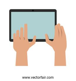 hands with tablet icon image