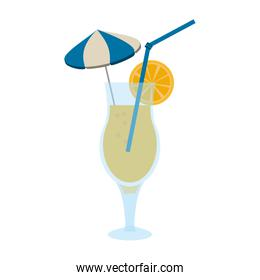 tropical cocktail with umbrella straw and garnish icon image